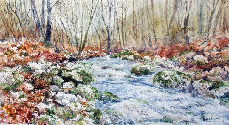 I paesaggi degli acquerelli di Giampiero Pierini, il fiume nel sottobosco
