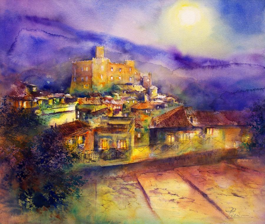 I paesaggi degli acquerelli di Giampiero Pierini, la luna su Cineto Romano