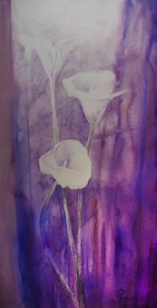 Le composizioni degli acquerelli di Giampiero Pierini, celle biancastre