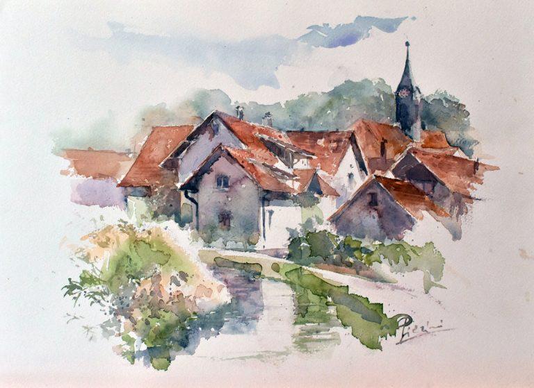I paesaggi degli acquerelli di Giampiero Pierini, tetti germanici