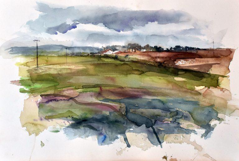 I paesaggi degli acquerelli di Giampiero Pierini, collina in Germania