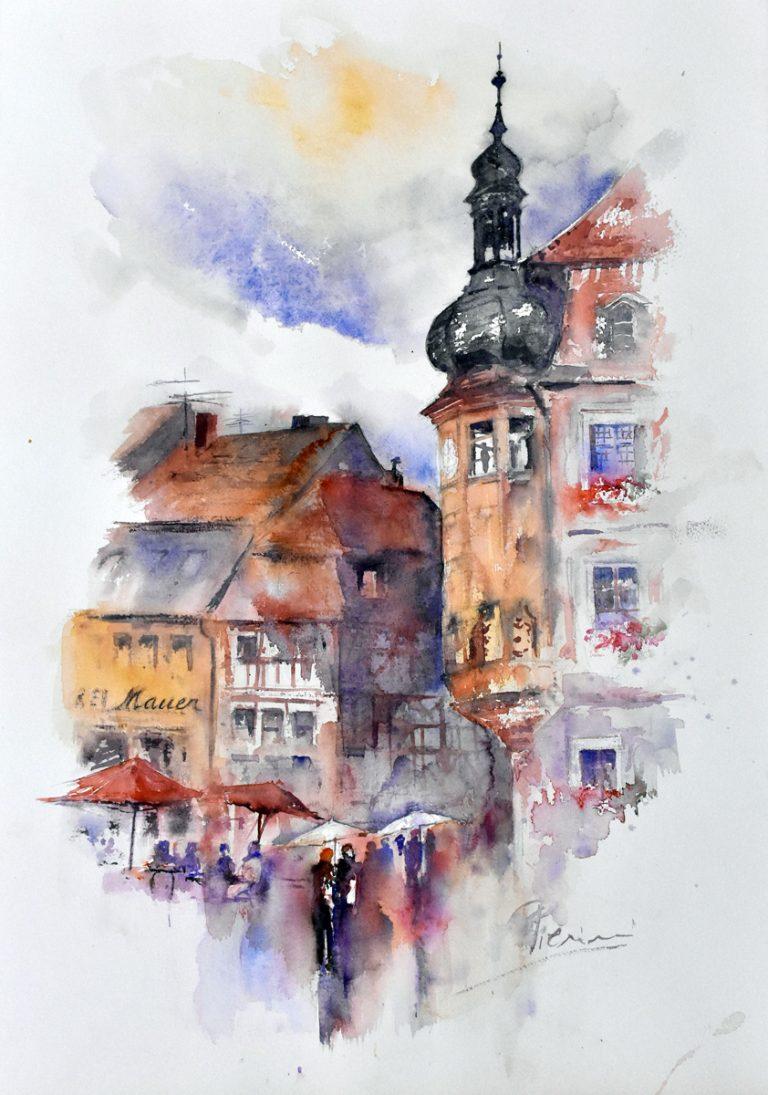 Altre opere e soggetti degli acquerelli di Giampiero Pierini, pioggia in città tedesca