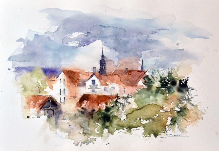 I paesaggi degli acquerelli di Giampiero Pierini, città in Germania