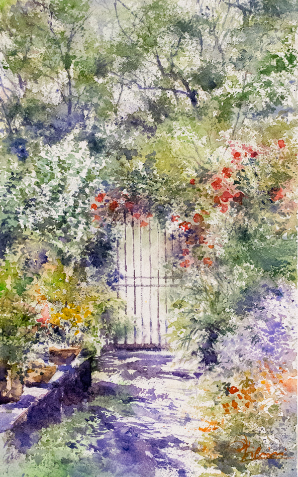 Altre opere e soggetti degli acquerelli di Giampiero Pierini, cancello tra i fiori