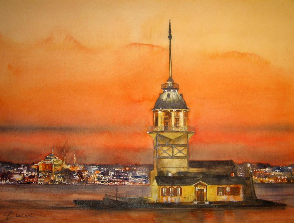 I paesaggi degli acquerelli di Giampiero Pierini, Istanbul di sera