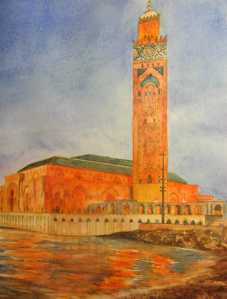 I paesaggi degli acquerelli di Giampiero Pierini, moschea in Marocco
