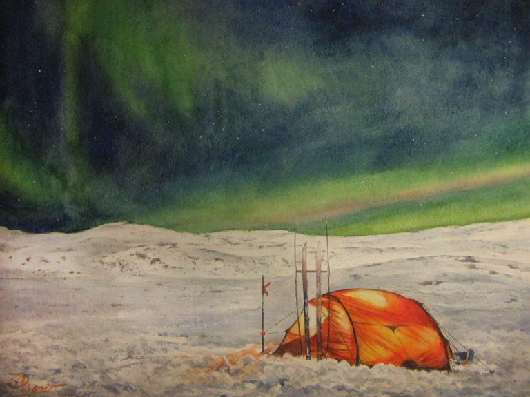 I paesaggi degli acquerelli di Giampiero Pierini, aurora boreale in Svezia