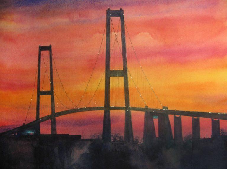 I paesaggi degli acquerelli di Giampiero Pierini, tramonto in Danimarca