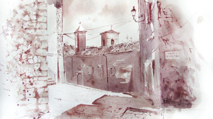 Acquerelli e vinarelli di Giampiero Pierini, vicolo di pietra a Norma