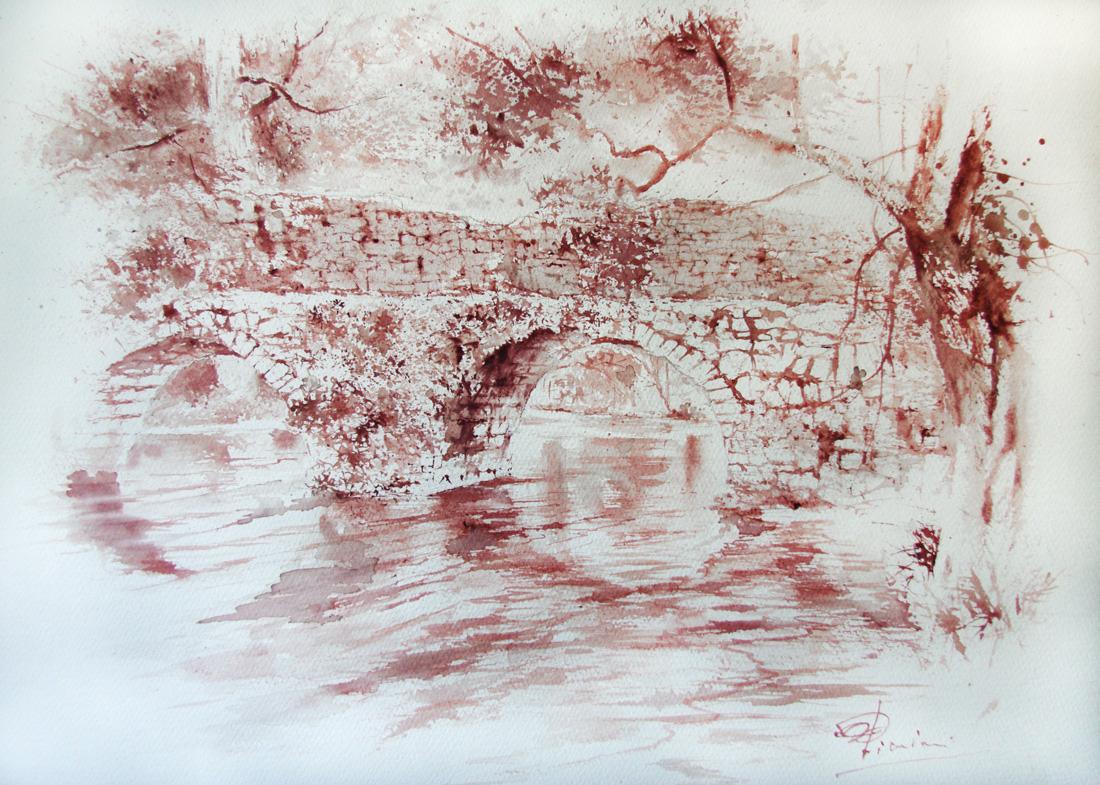 Acquerelli e vinarelli di Giampiero Pierini, ponte sul fiume di Ninfa