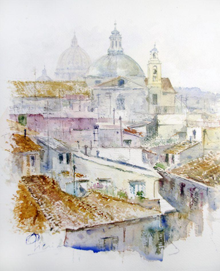 Roma e la campagna romana degli acquerelli di Giampiero Pierini, tetti di Roma