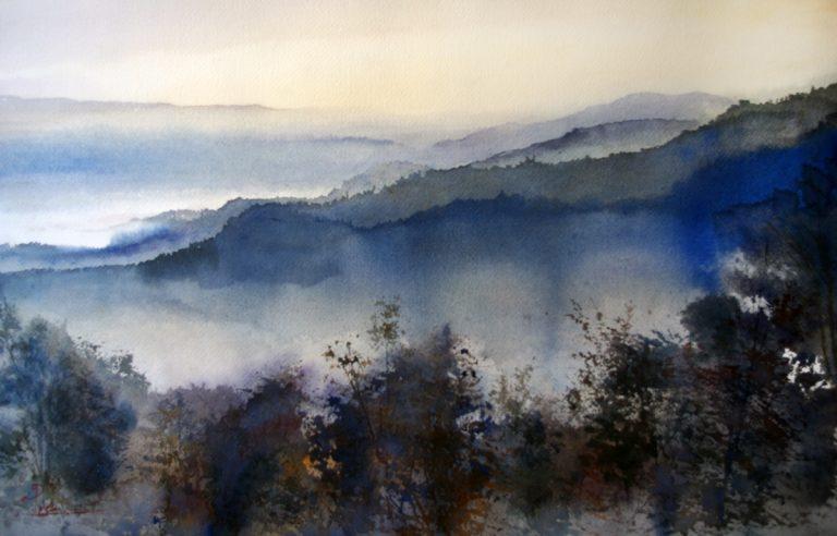 I paesaggi degli acquerelli di Giampiero Pierini, l'alba nella valle dell'Aniene