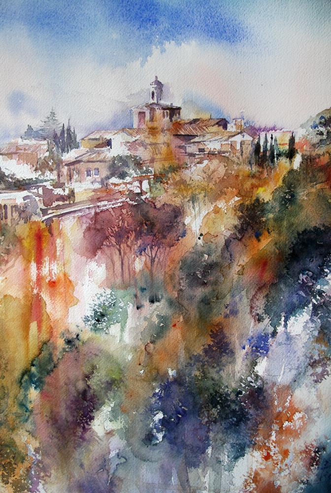 I paesaggi degli acquerelli di Giampiero Pierini, veduta di Civita Castellana